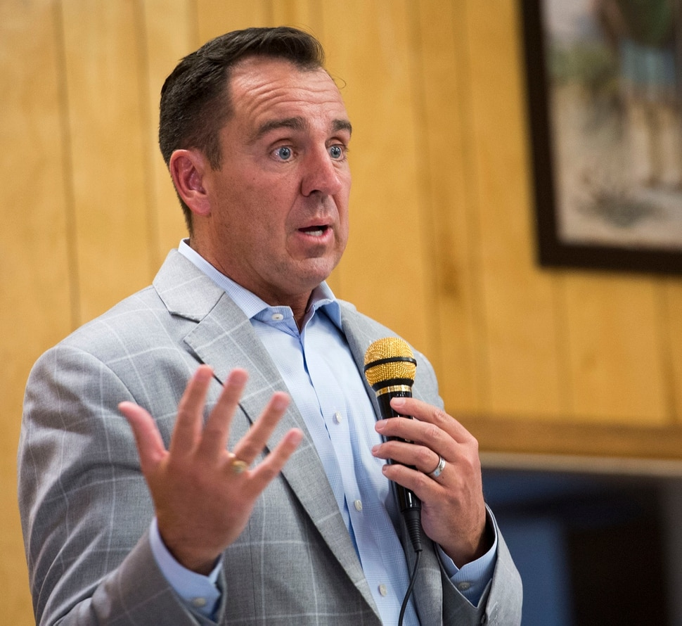 (Rick Egan | The Salt Lake Tribune) Speaker Greg Hughes talks about the homeless problem with westside residents who say that the crackdown on crime in the Rio Grande area has pushed homeless people and drug activity toward their neighborhoods. Friday, August 25, 2017.