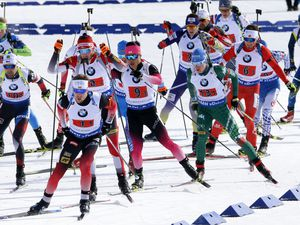 (Rick Bowmer   AP) Athletes compete in the single mixed relay during the World Cup biathlon Sunday, Feb. 17, 2019, in Midway, Utah.