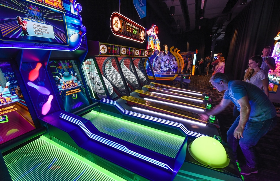 (Francisco Kjolseth | The Salt Lake Tribune) Dave & Buster's restaurant and entertainment business hosts a VIP event on Thursday, May 10, 2018, at its new Salt Lake City venue at The Gateway before officially opening to the public on Monday, May 14.
