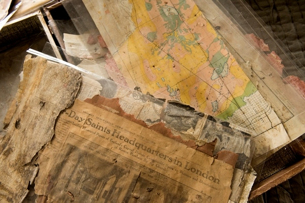 (Leah Hogsten | The Salt Lake Tribune) Dawn House saved the maps and newspapers that frontierswoman Ethalinda Morrill pasted to the walls of the 16-by-16-foot one-room house to keep out some of the cold.