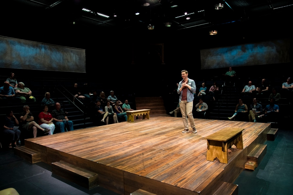 (Photo courtesy Karl Hugh/Utah Shakespeare Festival) Michael Doherty on stage at the theater-in-the-round at the Utah Shakespeare Festival's Eileen and Allen Anes Studio Theatre.