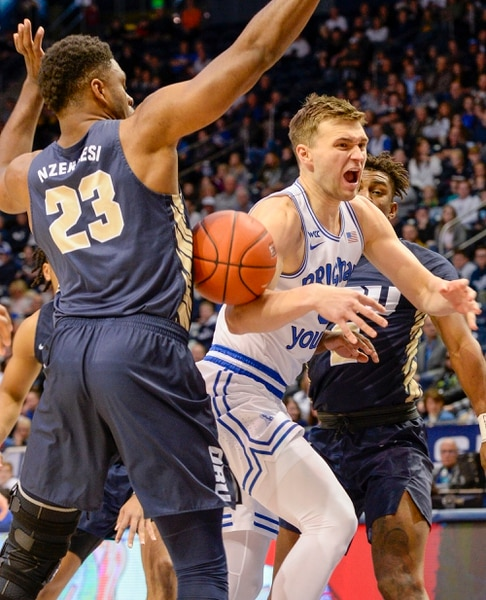 (Leah Hogsten | The Salt Lake Tribune) as Brigham Young University hosts Oral Roberts, Dec. 28, 2019 at the Marriott Center in Provo.