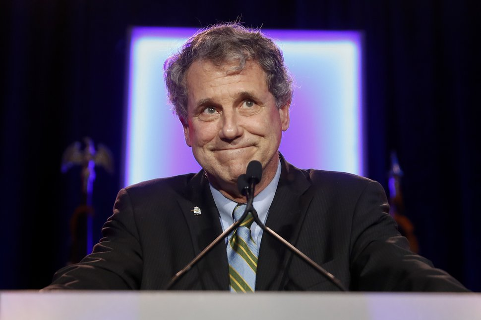 FILE - In this Nov. 6, 2018, file photo, Sen. Sherrod Brown, D-Ohio, speaks to supporters after winning re-election during the Democratic election night party in Columbus, Ohio. Brown plans an online town hall Sunday, Dec. 16 as he considers running for president in 2020. (AP Photo/John Minchillo, File)