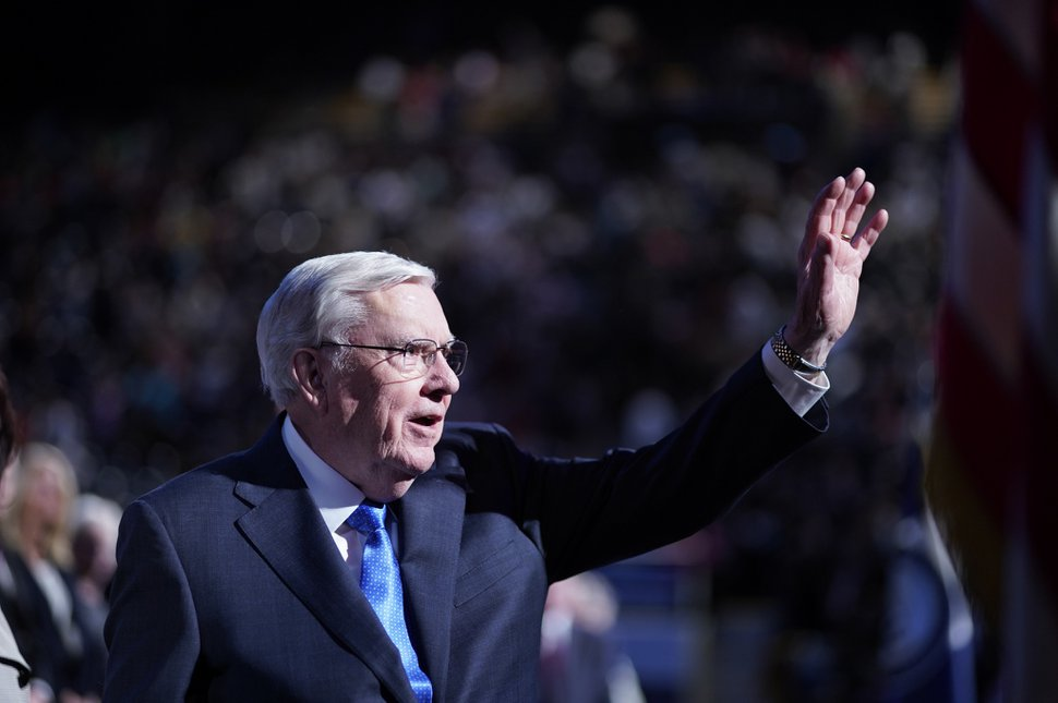 (Photo courtesy of Brigham Young University) President M. Russell Ballard of the Quorum of the Twelve Apostles waves goodbye after speaking to BYU students at the Marriott Center on March 3, 2020.