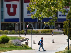 (Francisco Kjolseth     Tribune file photo) A limited student population begins classes at the University of Utah due to the ongoing coronavirus pandemic, as students are encouraged to social distance, leaving campus empty of its usual traffic, Aug. 27, 2020.