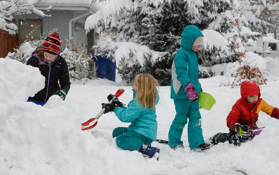 (Francisco Kjolseth | Tribune file photo) Mira Tueller, Cecilia Prudden and Ellie and Max Rizk, from left, take advantage of a snow day after school was canceled in the Salt Lake County because of a heavy snowstorm on Wednesday, Feb. 6, 2019.
