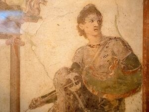 "(Trent Nelson     The Salt Lake Tribune) The fresco ""Amazon on Architecture,"" part of Pompeii: The Exhibition, opening Saturday at The Leonardo in Salt Lake City on Thursday Nov. 21, 2019."