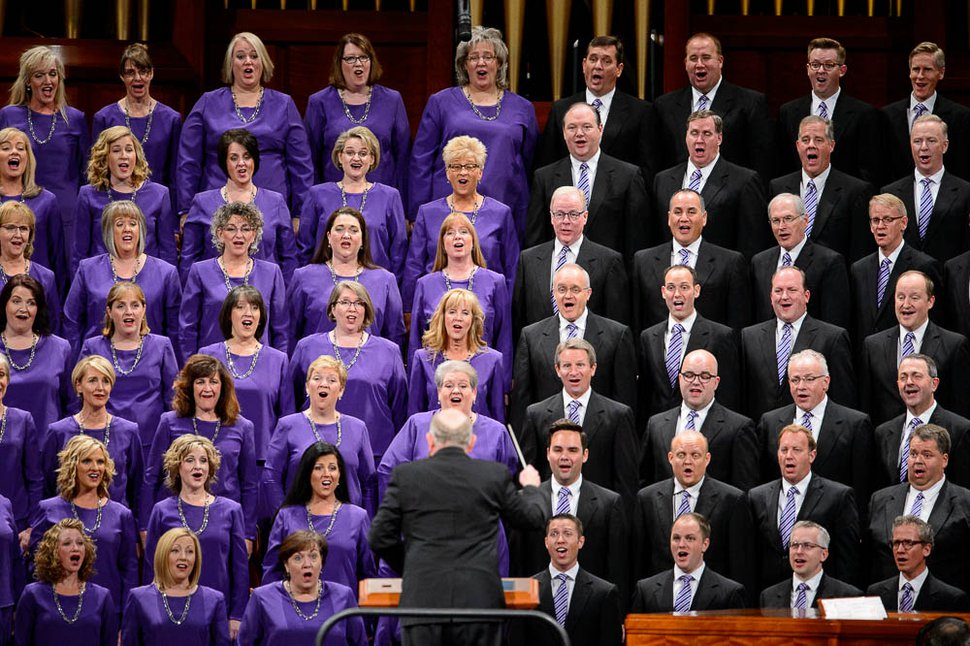 (Trent Nelson | The Salt Lake Tribune) The Tabernacle Choir at Temple Square sings at the General Conference of The Church of Jesus Christ of Latter-day Saints in Salt Lake City, Saturday, Oct. 6, 2018.