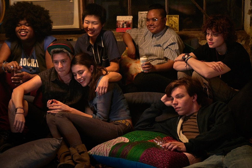 (Photo courtesy Meridian Entertainment/Sundance Institute) A teen (Nicholas Alexander, lower left) follows his sister (Margaret Qualley) into New York's lesbian and trans activist scene in Adam, by Rhys Ernst, an official selection in the NEXT program of the 2019 Sundance Film Festival.