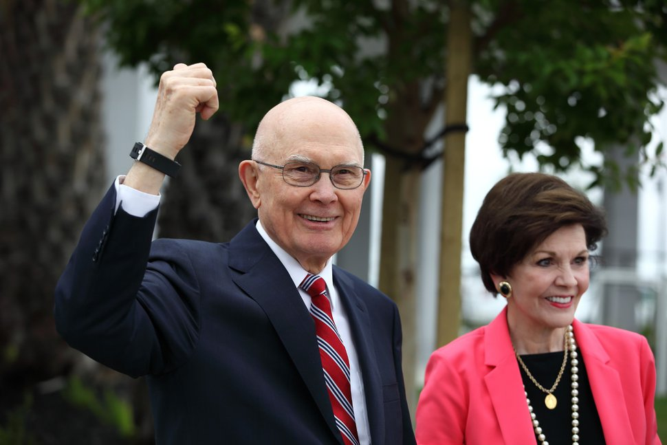 (Photo courtesy of The Church of Jesus Christ of Latter-day Saints) President Dallin H. Oaks, and his wife, Kristen, arrive for a youth devotional Saturday, June 15, 2019, before the rededication of the renovated Oakland Temple.