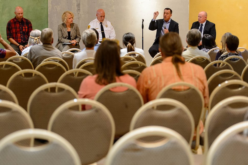 (Trent Nelson   The Salt Lake Tribune) Salt Lake City Mayor Jackie Biskupski and House Speaker Greg Hughes, among other city and community leaders, answered questions about the proposed closure of Rio Grande Street during a public meeting in a vacant storefront in the Gateway in Salt Lake City, Wednesday September 6, 2017.