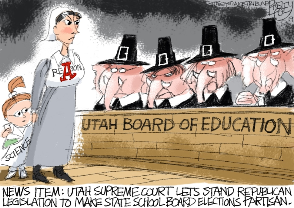 (Pat Bagley | The Salt Lake Tribune) This cartoon, titled Pilgrim's Regress, appears in The Salt Lake Tribune on Friday, Sept. 13, 2019.