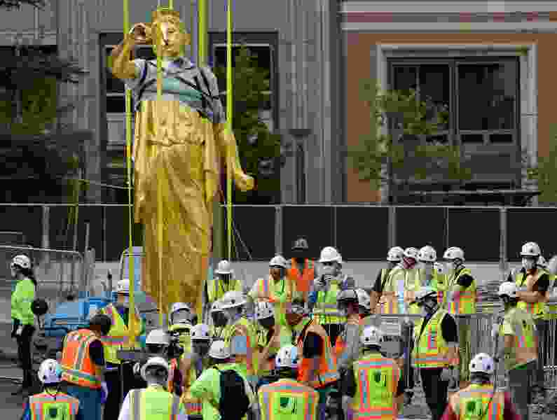 For the first time in 128 years, Angel Moroni statue no longer sits atop Salt Lake Temple — see more photos