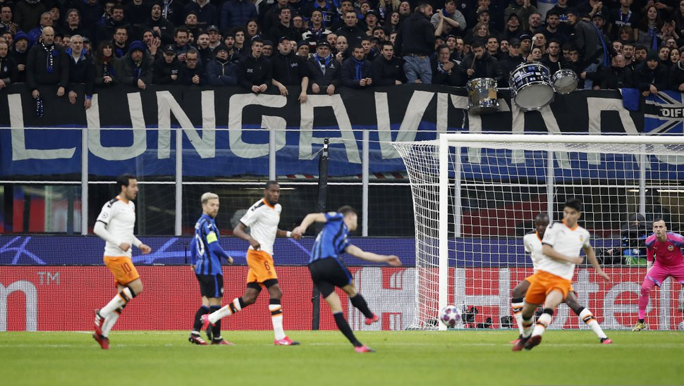 "(Antonio Calanni | AP file photo) The Champions League round of 16, first leg, soccer match between Atalanta and Valencia at the San Siro stadium in Milan, Italy, on Feb. 19, 2020, was the biggest soccer game in Atalanta's history and a third of Bergamo's population made the short trip to Milan's famed San Siro Stadium to witness it. Nearly 2,500 fans of visiting Spanish club Valencia also traveled to the Champions League match. More than a month later, experts are pointing to the Feb. 19 game as one of the biggest reasons why Bergamo has become one of the epicenters of the coronavirus pandemic — a ""biological bomb"" was the way one respiratory specialist put it — and why 35% of Valencia's team became infected."