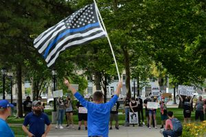 (Francisco Kjolseth     The Salt Lake Tribune) Supporters of law enforcement gathered at City Hall in Salt Lake City for a rally in support of police, Saturday, June 20, 2020.