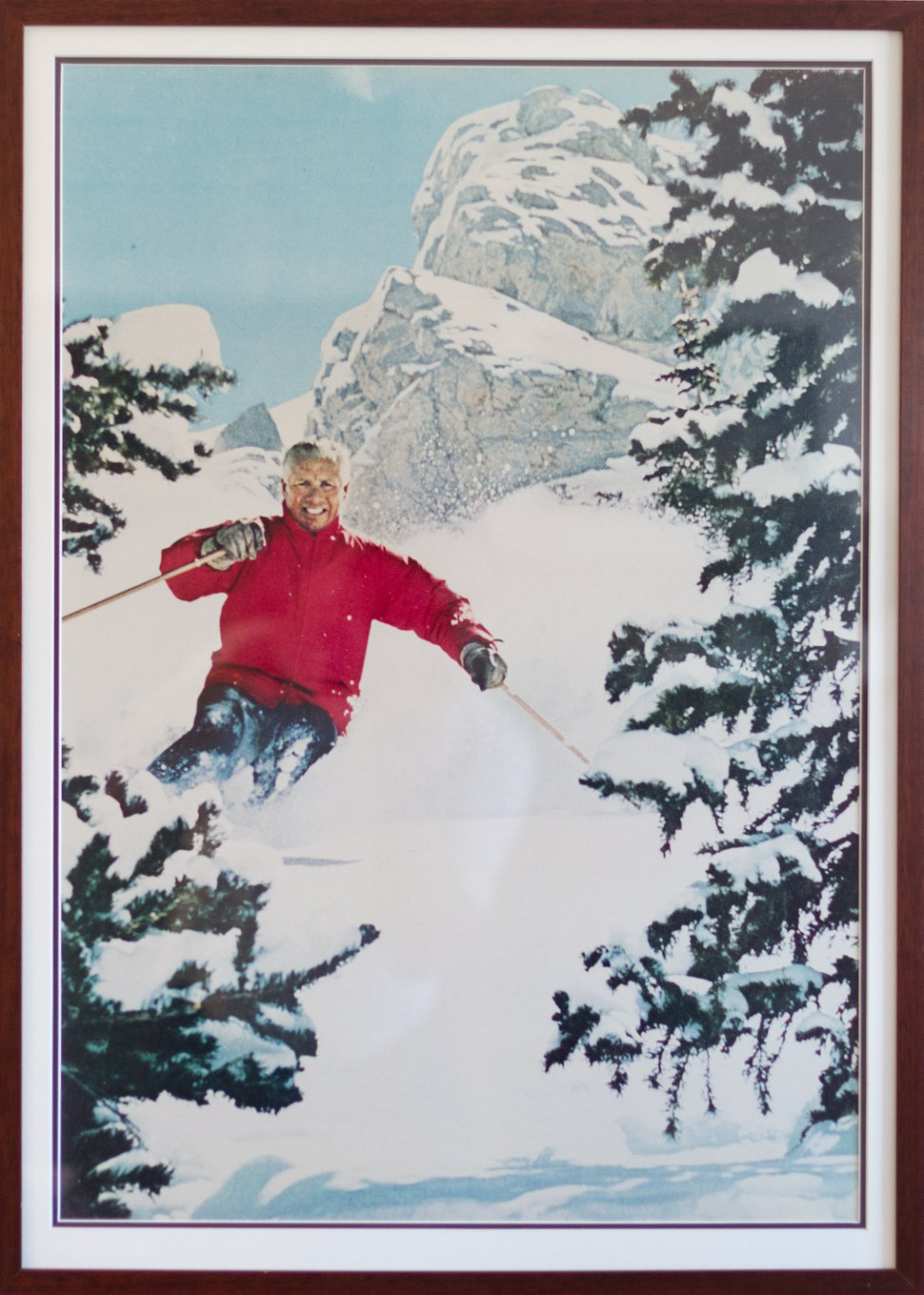 Snowbird co-founder Ted Johnson elegantly carves a turn through powder at the resort he and Texas oilman Dick Bass brought into existence in 1971.