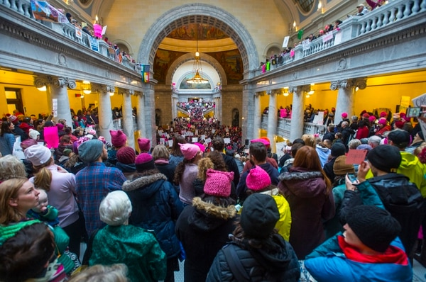 Steve Griffin / The Salt Lake Tribune Thousands of people attend the Women's March on the Capitol, which began at City Creek Park and proceeded up State Street to the Capitol. Participants filled the Rotunda for a rally against bills and stands they say hurt women. in Salt Lake City Monday Jan. 23, 2017.
