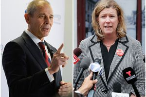 (Tribune and AP file photos) Rep. John Curtis, R-Utah, left, and Dayton, Ohio, Mayor Nan Whaley, vice president for the U.S. Conference of Mayors. Whaley criticized Curtis, a former Provo mayor, on CNN Tuesday, Dec. 22, over his remarks about the pressure Congress faced to include cities and states in the economic aid package passed Monday.