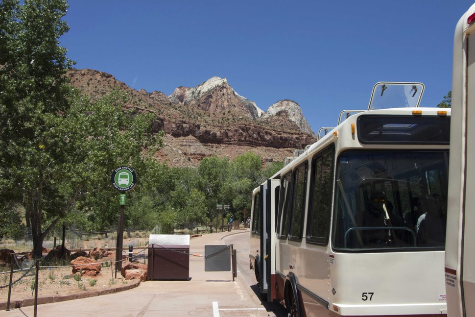 (K. Sophie Will | The Spectrum via AP) A tourist shuttle bus is seen in Zion National Park, Utah, on Wednesday, July 1, 2020. Now two decades old, the buses are falling apart but there is no money to replace them.
