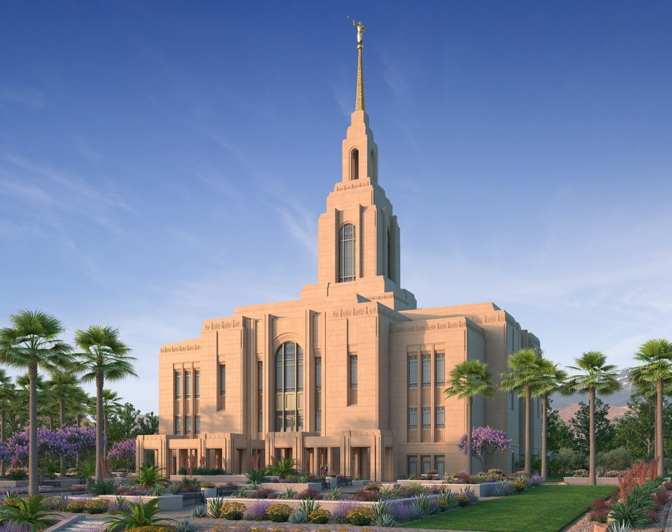 (Image courtesy of The Church of Jesus Christ of Latter-day Saints) Rendering of the Red Cliffs Temple planned for St. George.