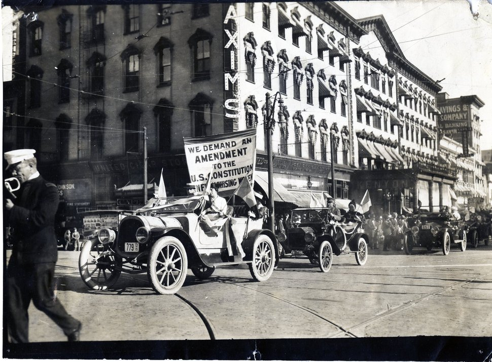 (Photo courtesy of National Woman's Party) Elizabeth Hayward and other local leaders rode in a parade on Main Street in Salt Lake City in 1915 to encourage U.S. Senator Reed Smoot to support a women's suffrage bill.