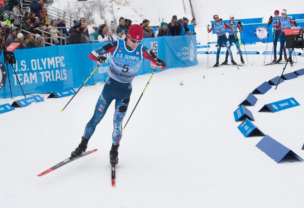 (Scott Sommerdorf | The Salt Lake Tribune) Bryan Fletcher starts out the race with a 1:24 defecit on the leader. He made it up and won the Nordic Combined Olympic Trials in Park City, Saturday, December 30, 2017.