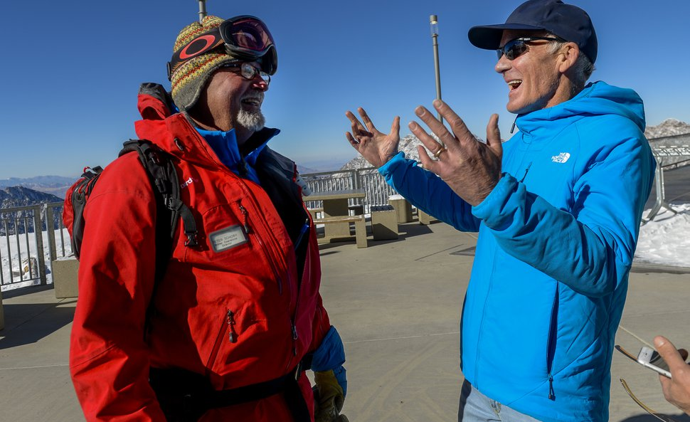 Leah Hogsten | The Salt Lake Tribune Peter Schory, Snowbird winter operations director, left, shares a laugh with Bob Bonar atop Hidden Peak. Bob Bonar began at Snowbird as a ski patroller the year it opened in 1971 and eventually became general manager, overseeing many of the major developments at the Little Cottonwood Canyon resort, including expansion into American Fork Canyon, cutting North America's first ski tunnel, and connecting with Alta ski resort. Snowbird's last original staff member, Bonar retired in November.