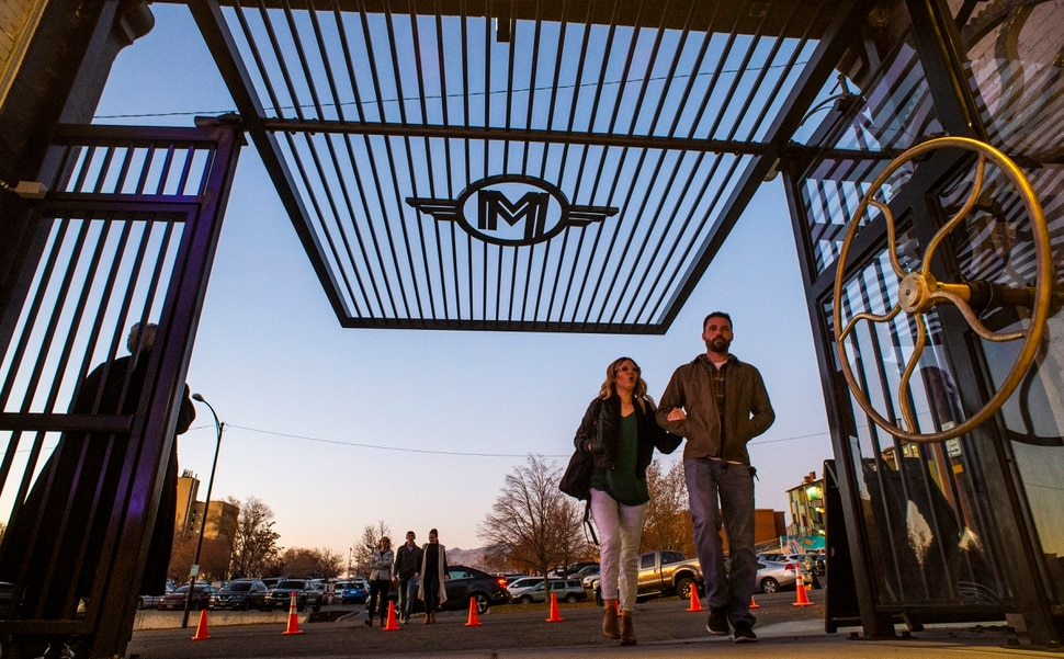 (Rick Egan | The Salt Lake Tribune) Patrons enter through the main gate of the Monarch, a new art and event space in Ogden on Friday, Nov. 1, 2019.