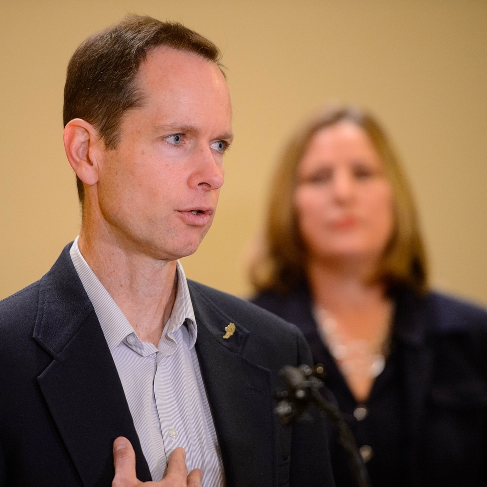 (Trent Nelson | The Salt Lake Tribune) Matt and Jill McCluskey at a news conference announcing the addition of former Utah Supreme Court Justice Christine Durham to their legal team, in Salt Lake City on Monday Nov. 25, 2019.