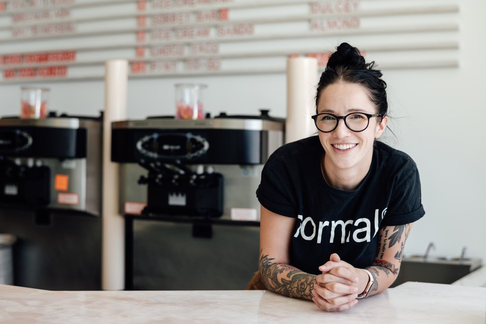(Kerri Fukui | Courtesy of Normal Ice Cream) Alexa Norlin, owner of Normal Ice Cream, poses inside the store near 900 South and 200 East.