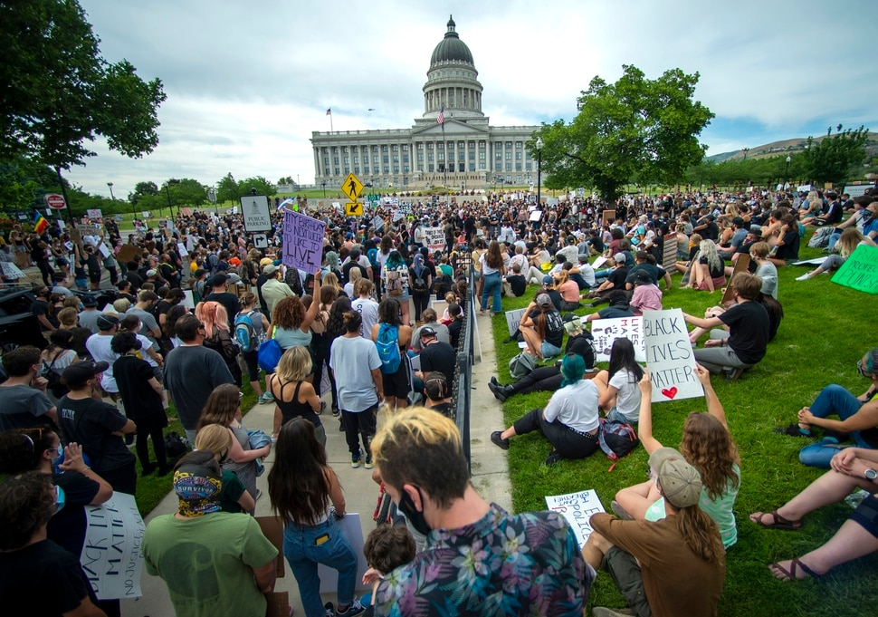 (Rick Egan | The Salt Lake Tribune) Protesters block State Street in front of the State Capitol, during a George Floyd demonstration in Salt Lake City on Thursday, June 4, 2020.