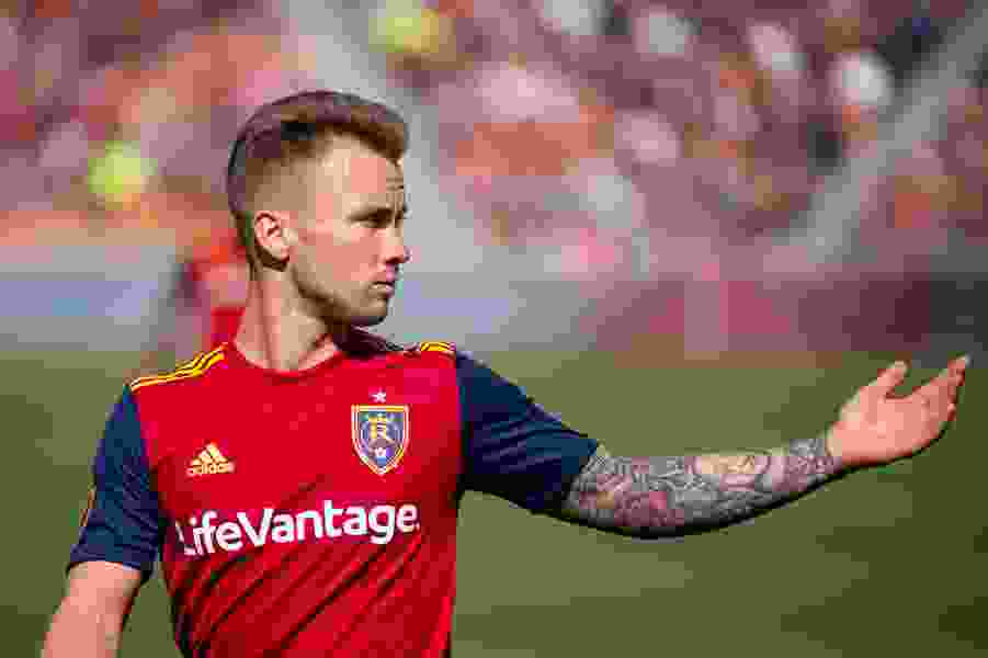 RSL midfielder Albert Rusnák celebrates his first Father's Day