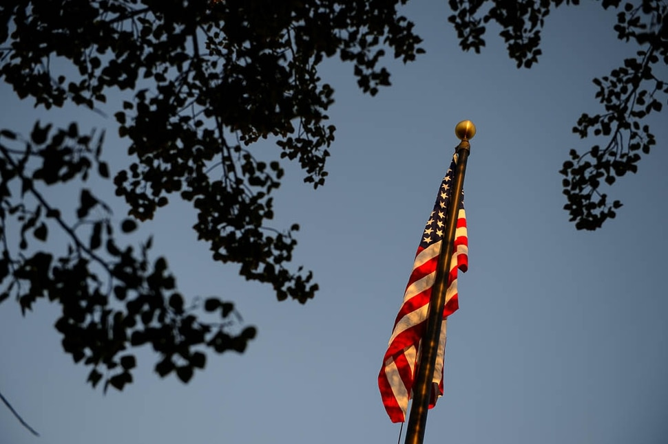 (Trent Nelson | The Salt Lake Tribune) The flag flies over South Jordan Middle School mark the anniversary of 9/11, Tuesday Sept. 11, 2018.