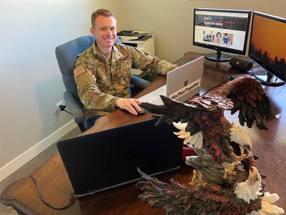 (Photo courtesy Utah National Guard) Capt. Aaron Bybee, commander of the 142nd Military Intelligence Battalion's Alpha Company, is working from home to help the Utah Department of Health conduct contract tracing of people who may have been infected by the coronavirus.