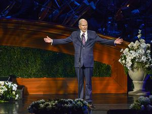 (Leah Hogsten | Tribune file photo) President Russell M. Nelson addresses the congregation at the close of the gala celebrating his 95th birthday in 2019. He plans to share a message of hope and healing to the world on Friday, Nov. 20, 2020.