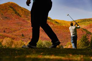 (Francisco Kjolseth  |  The Salt Lake Tribune)  Golfers take in the tapestry of Fall color at Wasatch Mountain Golf Course near Midway, Ut., on Tuesday, Oct. 10, 2019.
