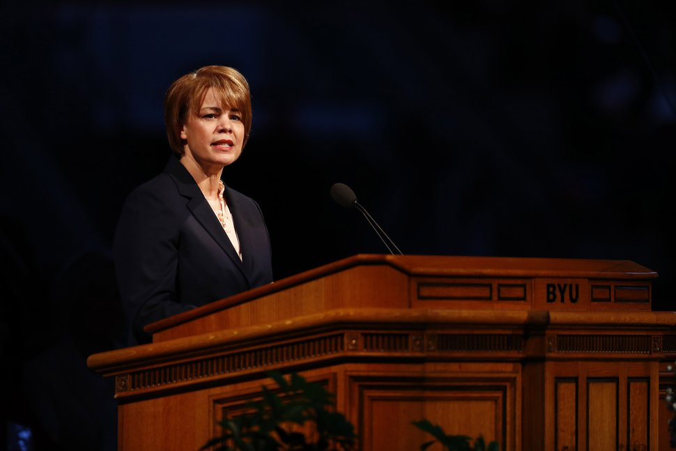 | Courtesy of The Church of Jesus Christ of Latter-day Saints Sister Sharon Eubank, Relief Society general presidency first counselor and director of LDS Charities, delivers the keynote address at the BYU Women's Conference in Provo, Utah, May 4, 2017.