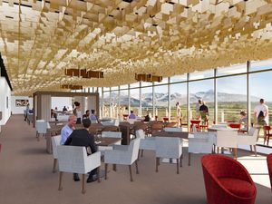 (University of Utah) A rendering of the U Club, a new members-only restaurant opening inside Rice Eccles Stadium.