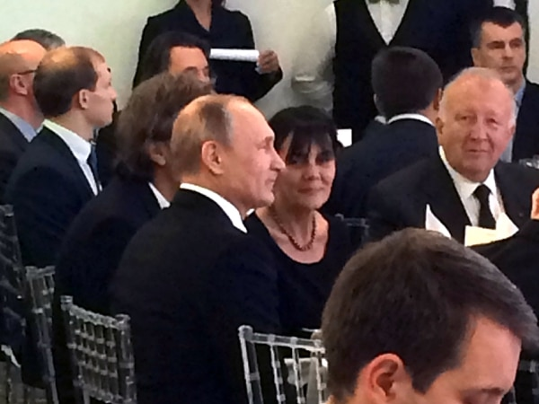 This photo of Russian President Vladimir Putin taken by former Salt Lake City Mayor Rocky Anderson at a dinner in Moscow in December 2015 shows a vacant seat to Putin's right. In other photos of the event, honoring Russia Today's tenth anniversary, the seat is occupied by retired U.S. Lt. Gen. Michael Flynn, who went on to become national security adviser to President Donald Trump. Flynn resigned less than a month into Trump's presidency and in October pleaded guilty to lying to authoriities about his contacts with Russia in 2016.