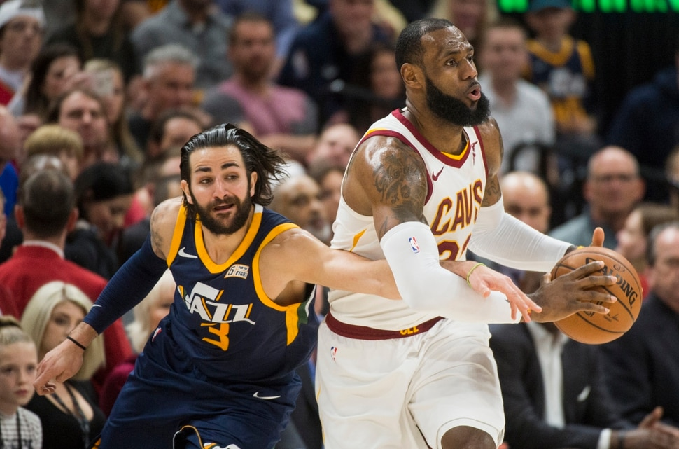 (Rick Egan | The Salt Lake Tribune) Utah Jazz guard Ricky Rubio (3) tries to get the ball from Cleveland Cavaliers forward LeBron James (23), in NBA action Utah Jazz vs Cleveland Cavaliers, in Salt Lake City, Saturday, December 30, 2017.
