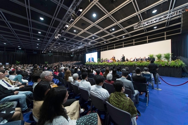 (Courtesy of the LDS Church) Some 4,000 Latter-day Saints in Hong Kong gathered to hear their prophet, President Russell M. Nelson and Elder Jeffrey R. Holland speak on April 21, 2018. The special meeting was one of eight cities the two leaders visited during their global ministry tour.