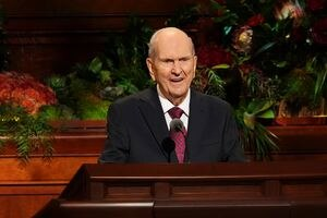 (The Church of Jesus Christ of Latter-day Saints) President Russell M. Nelson speaks at General Conference on Sunday, Oct. 3, 2021.