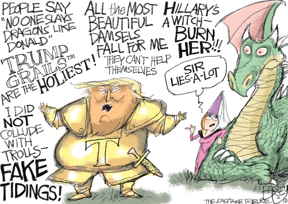 (Pat Bagley | The Salt Lake Tribune) This Pat Bagley cartoon titled Trump Lieth Liketh a Curr appears in The Salt Lake Tribune on Friday, Nov. 16, 2018.