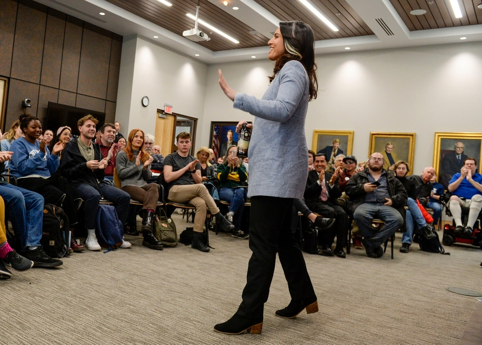 (Leah Hogsten | The Salt Lake Tribune) Tulsi Gabbard, U.S. Representative for Hawaii' and Democratic presidential candidate, delivers her stump speech at a meet the candidate event at the University of Utah's Hinckley Institute of Politics, Feb. 21, 2020.