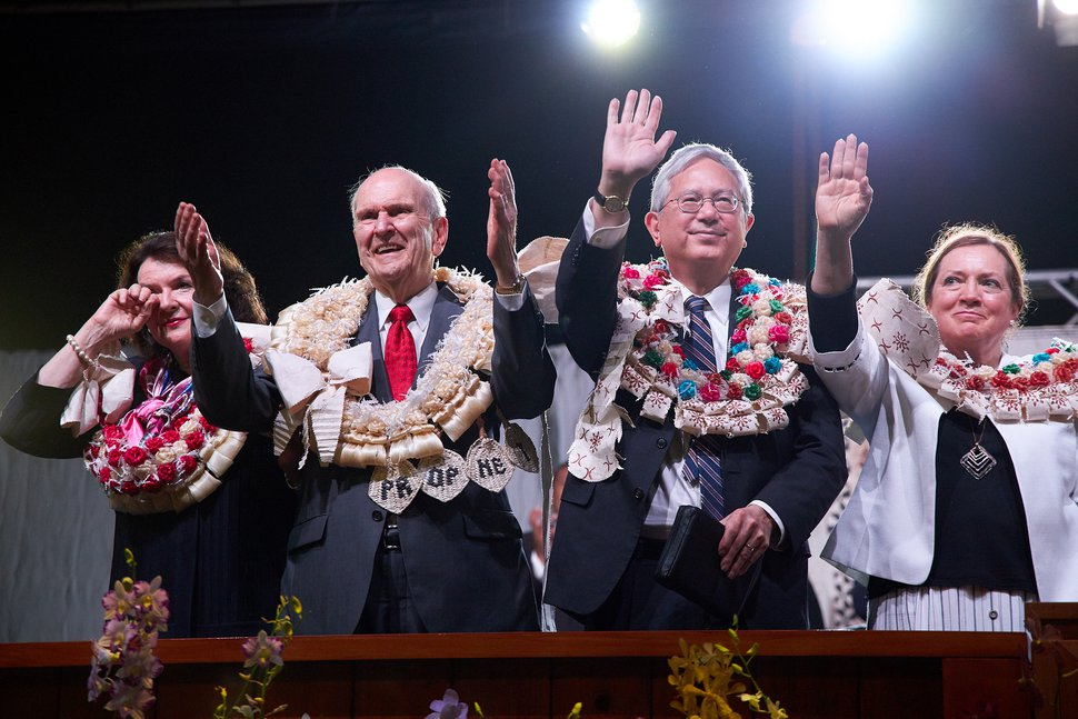 (Photo courtesy of The Church of Jesus Christ of Latter-day Saints) Wendy Nelson, left, President Russell M. Nelson, apostle Gerrit W. Gong and Susan Gong wave goodbye to Latter-day Saints in Fiji.