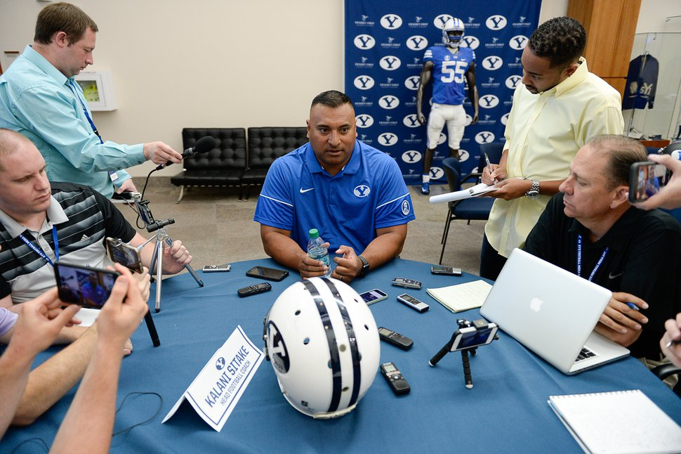 Francisco Kjolseth | The Salt Lake Tribune BYU football head coach Kalani Sitake, sits down for interviews during BYU Football Media Day at BYU Broadcasting in Provo on Friday, June 23, 2017.