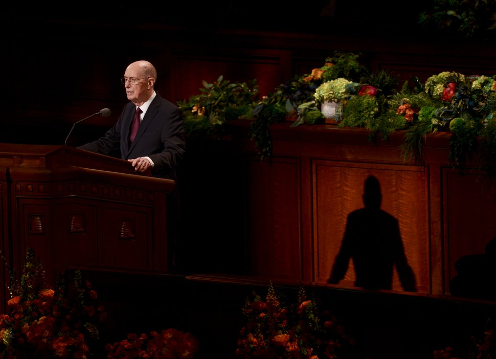 (Leah Hogsten | The Salt Lake Tribune) President Henry B. Eyring addresses church members during 189th Annual General Conference of The Church of Jesus Christ of Latter-day Saints, April 6, 2019, in Salt Lake City.
