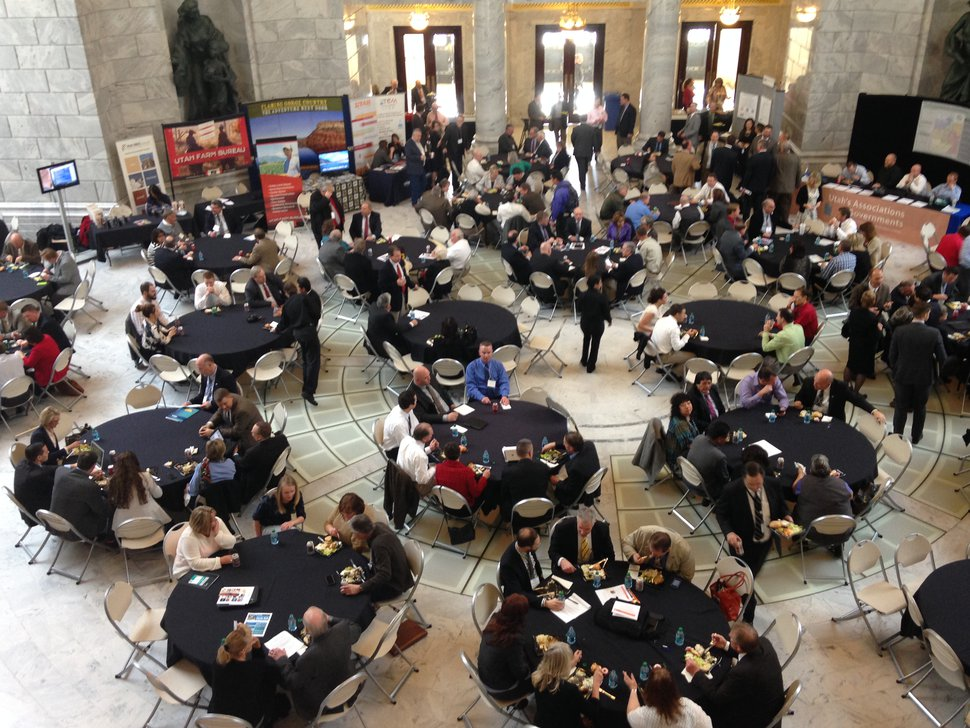 Lee Davidson | The Salt Lake Tribune A Feb. 13, 2015, lunch in the Capitol Rotunda for legislators sponsored by the Utah Association of Counties and the Governor's Office of Economic Development