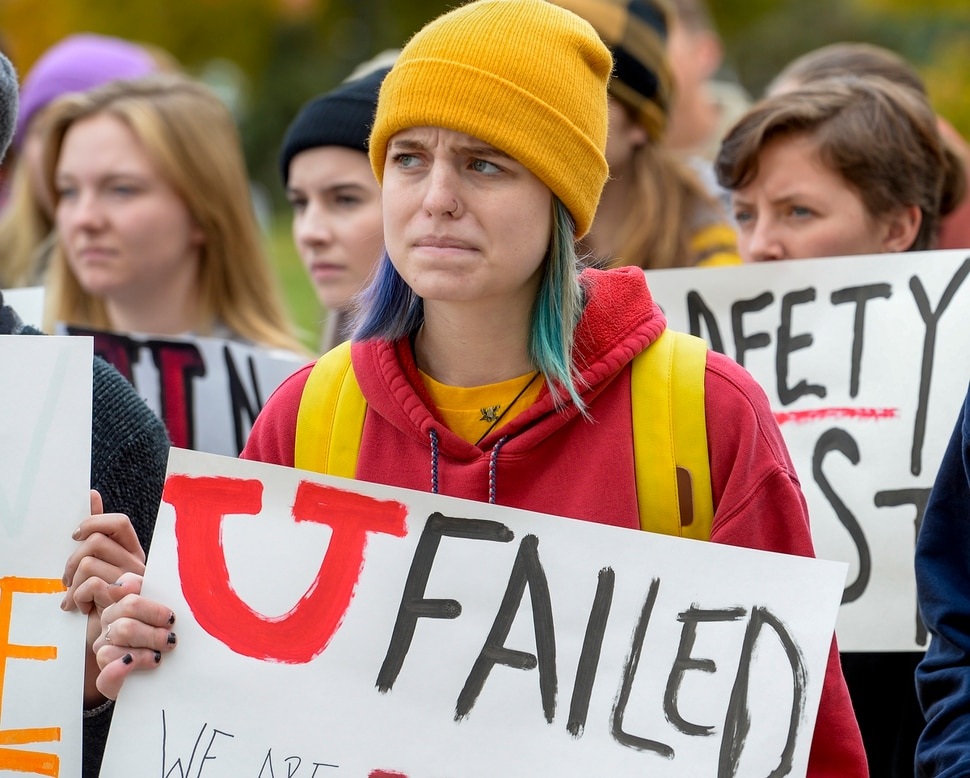 (Leah Hogsten | The Salt Lake Tribune) Piper Salazar and other University of Utah students walked out of classes Monday, Oct. 21, 2019, in a show of solidarity to call attention for increased campus safety and protest the school's response after a student was murdered on campus last year. Monday's walkout comes one day prior to the 1-year anniversary of the murder of Lauren McCluskey.
