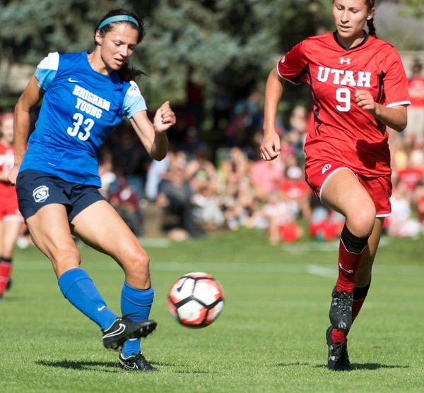 Rick Egan | The Salt Lake Tribune BYU Ashley Hatch (33) kicks the ball into the goal to make the score 2-0 BYU, in soccer action, BYU vs. Utah, at the Ute soccer field, Monday, September 5, 2016.